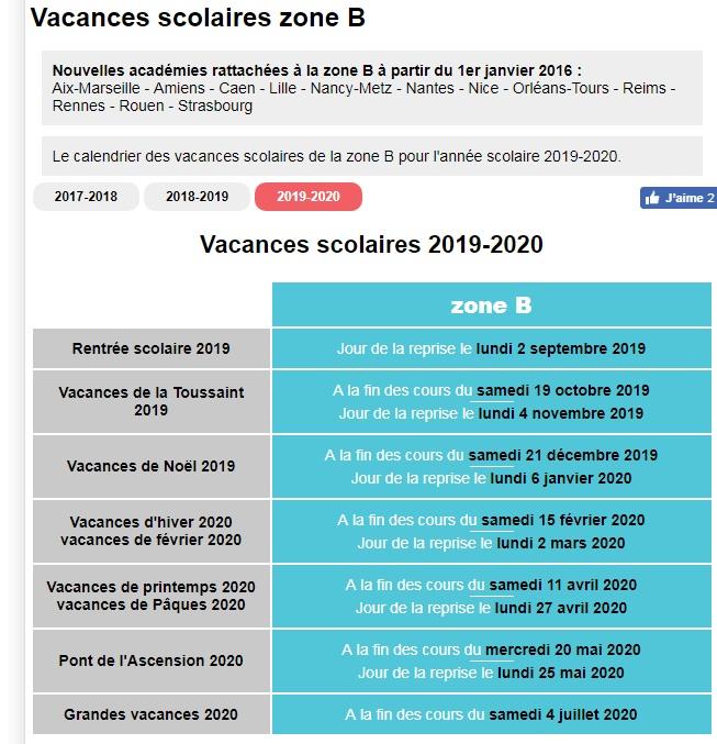 calendrier scolaire 2019 2020
